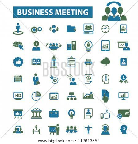 business meeting, community, human resources, management icons, signs vector concept set for infographics, mobile, website, application