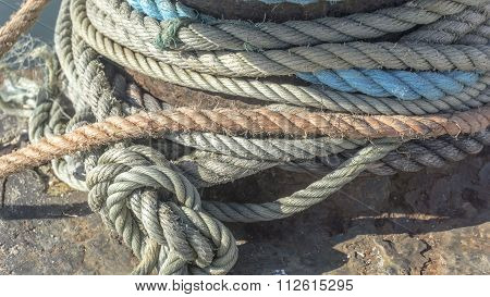 Macro From Different Heavy Duty Rope On A Pier