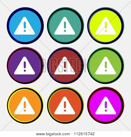 Exclamation Mark, Attention Caution Icon Sign. Nine Multi Colored Round Buttons.