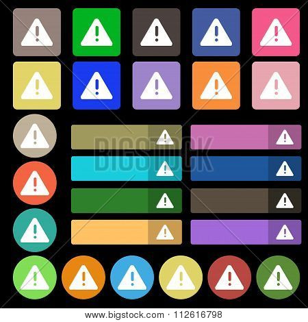 Exclamation Mark, Attention Caution Icon Sign. Set From Twenty Seven Multicolored Flat Buttons.