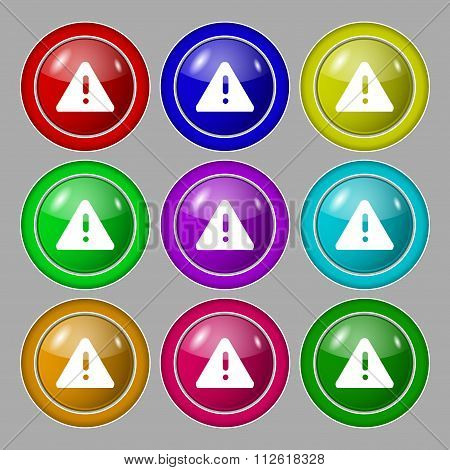 Exclamation Mark, Attention Caution Icon Sign. Symbol On Nine Round Colourful Buttons.