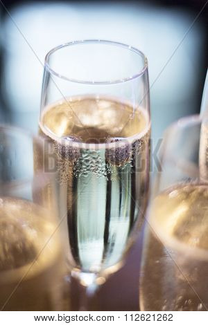 Champagne White Wine Glasses In Wedding Party