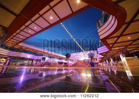 Reflected deck of Costa Deliziosa - the newest Costa cruise ship
