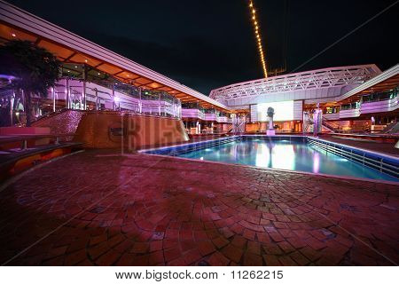 Swimming pool in the deck of Costa Deliziosa - the newest Costa cruise ship