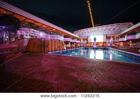 Swimming pool in the deck of Costa Deliziosa - the newest Costa cruise ship
