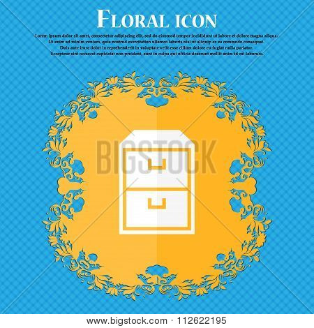 Nightstand Icon. Floral Flat Design On A Blue Abstract Background With Place For Your Text.