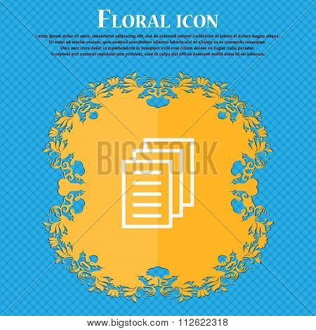 Copy File, Duplicate Document Icon. Floral Flat Design On A Blue Abstract Background With Place
