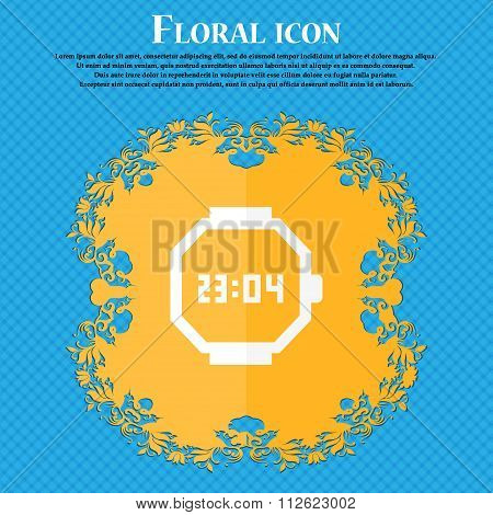Wristwatch Icon. Floral Flat Design On A Blue Abstract Background With Place For Your Text.