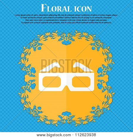 3D Glasses Icon. Floral Flat Design On A Blue Abstract Background With Place For Your Text.