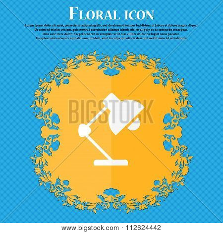 Reading-lamp And Lighting, Illumination Icon. Floral Flat Design On A Blue Abstract Background