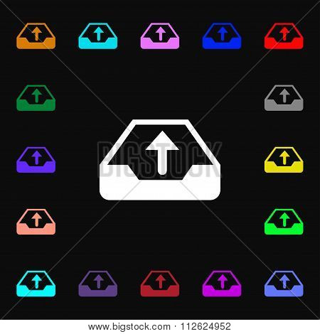 Backup Icon Sign. Lots Of Colorful Symbols For Your Design.