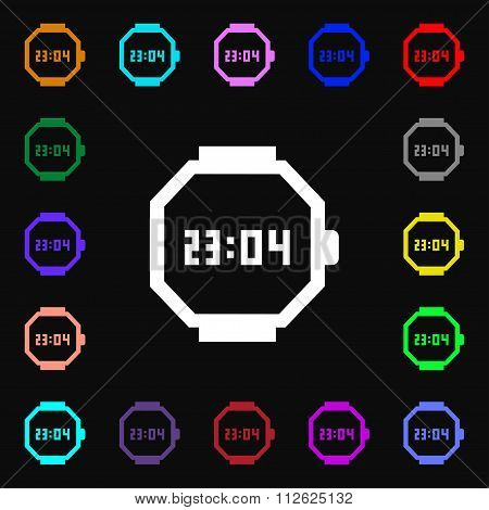 Wristwatch Icon Sign. Lots Of Colorful Symbols For Your Design.