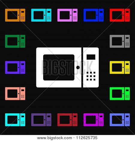 Microwave Icon Sign. Lots Of Colorful Symbols For Your Design.