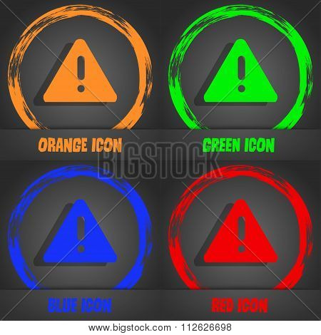 Exclamation Mark, Attention Caution Icon. Fashionable Modern Style. In The Orange, Green, Blue,