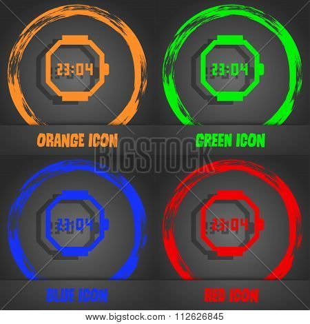 Wristwatch Icon. Fashionable Modern Style. In The Orange, Green, Blue, Red Design.