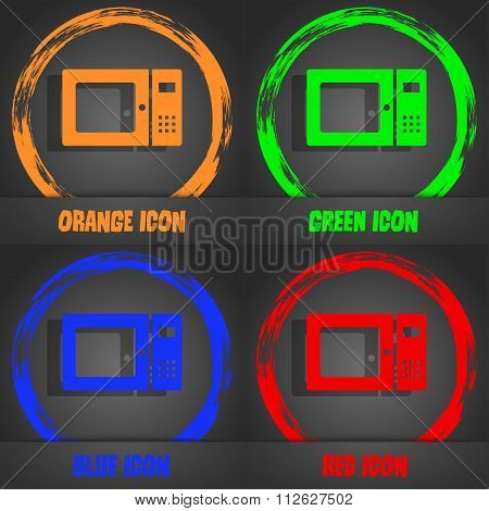 Microwave Icon. Fashionable Modern Style. In The Orange, Green, Blue, Red Design.