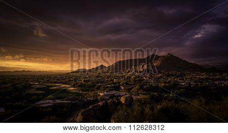Golden dramatic sunset over North Scottsdale,Arizona,USA