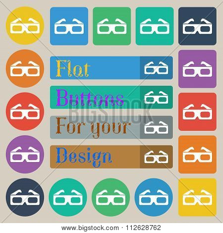 3D Glasses Icon Sign. Set Of Twenty Colored Flat, Round, Square And Rectangular Buttons.