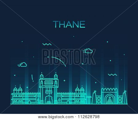 Thane skyline silhouette vector linear style