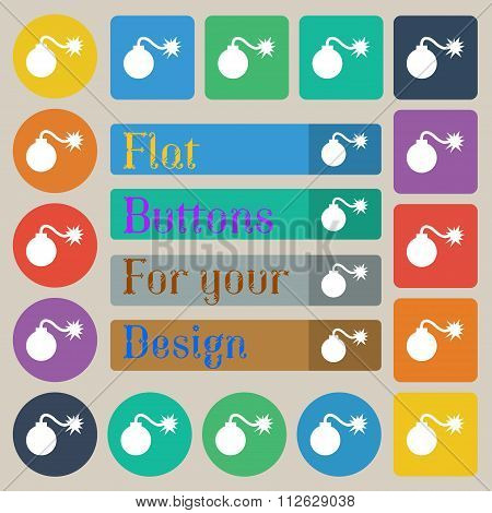 Bomb Icon Sign. Set Of Twenty Colored Flat, Round, Square And Rectangular Buttons.
