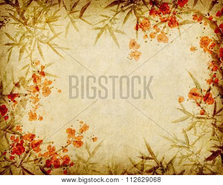 plum blossom and bamboo on old antique paper texture