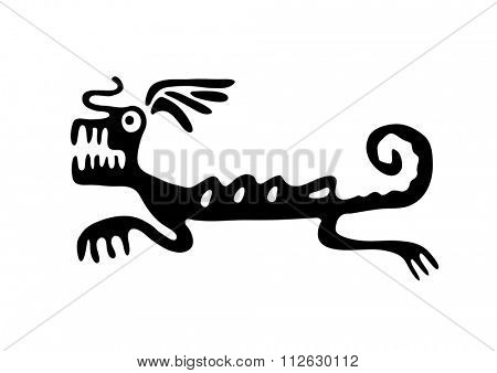 Black lizard or dragon in native style, illustration