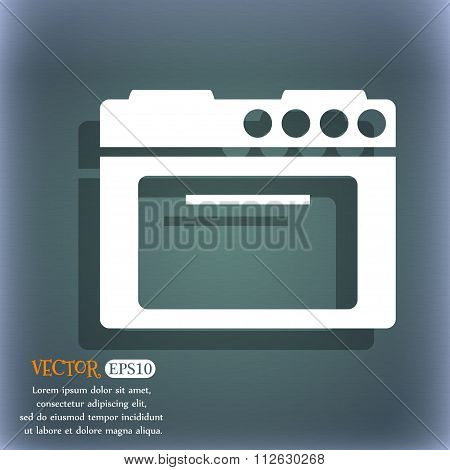 Kitchen Stove Icon. On The Blue-green Abstract Background With Shadow And Space For Your Text.