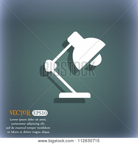 Reading-lamp And Lighting, Illumination Icon. On The Blue-green Abstract Background With Shadow