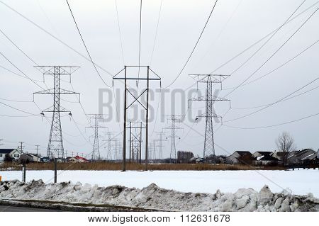 Tall Power Lines in Winter