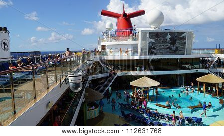 Poolside on the Carnival Breeze Cruise Ship