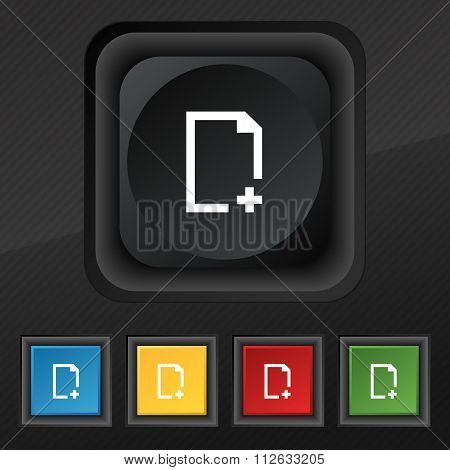 Add File Icon Symbol. Set Of Five Colorful, Stylish Buttons On Black Texture For Your Design.