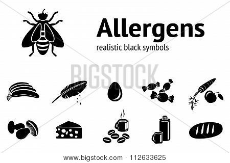 Allergen set. Insect, cheese, down, sweets, milk, bread, banana, egg, mushroom, coffee. Food and com