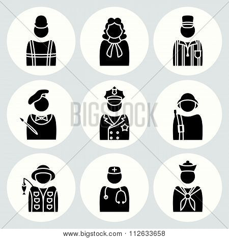 People profession icon set. Judge, painter, referee, doctor, cook, seaman, soldier, sailor, fisherma