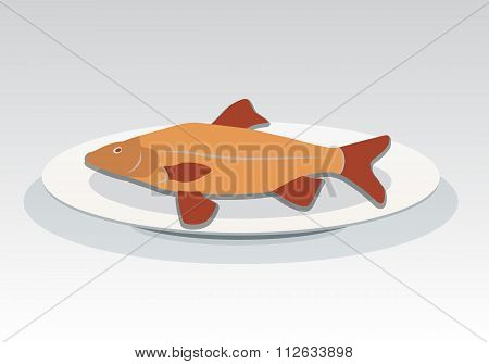 Fish on plate icon. Seafood dish symbol. Cyprinidae family. Orange, red colored sign with shadow. Ve