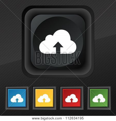 Backup Icon Symbol. Set Of Five Colorful, Stylish Buttons On Black Texture For Your Design.
