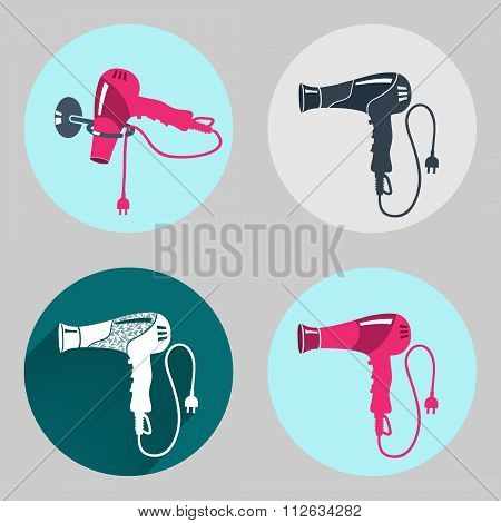 Hair-drier icon set. Professional blow hairdryer with two-pin plug. Modern colored sign on dark grey