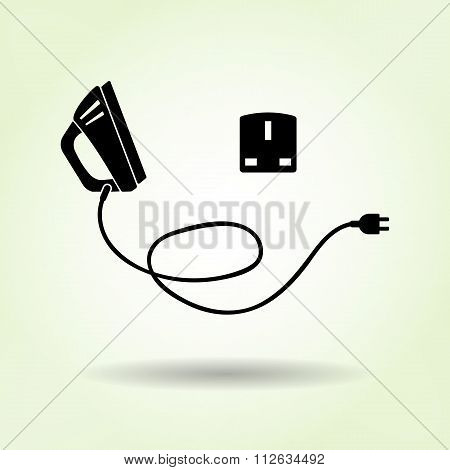 Iron icon with shadow on light green. Electric appliance for dress smoothing symbol. Vector