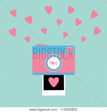 Camera Instant Photo In Flat Design Style. Pink Hearts. Love Card. Blue Background