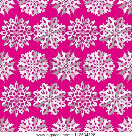 Seamless christmas pattern. Origami paper cut out three-dimensional snowflakes with shadow. White si