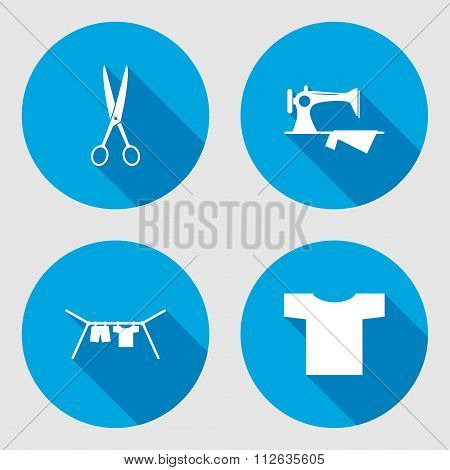 Household sign set. Sewing machine, hanger, scissors, clothes, T-shirt. Electric appliance for house