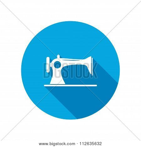 Sewing manual machine. Home vintage equipment. Round circle flat icon with long shadow. Vector