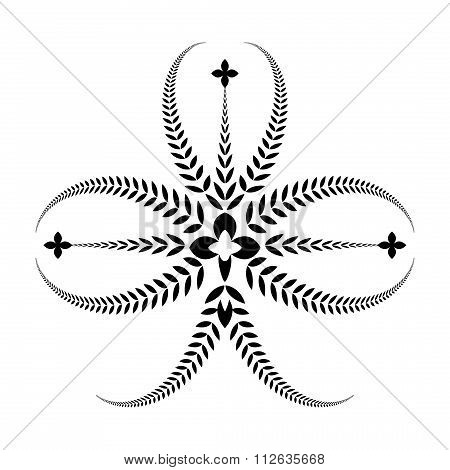 Laurel, wreath tattoo. Clover, trefoil sign with crosses. Three-leaved black ornament. Ireland, Sain