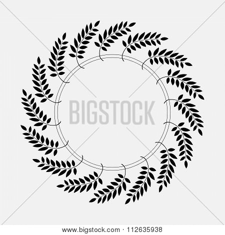 Tattoo of laurel wreath. Black abstract ornament, silhouette on white background.  Defense, peace, g