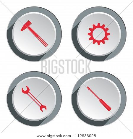 Screwdriver, cogwheel, hammer, wrench key icon. Repair fix tool symbol. Round gray button with shado