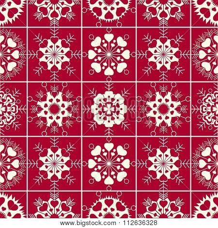 Seamless pattern of heart view snowflakes. Winter, Christmas, Valentine day, birthday texture. Styli