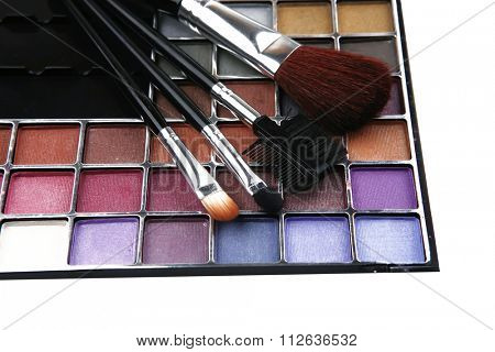 eyeshadow kit for make-up over white background