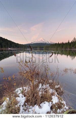 Winter At Trillium Lake During Sunset