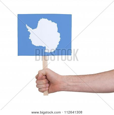 Hand Holding Small Card - Flag Of Antarctica