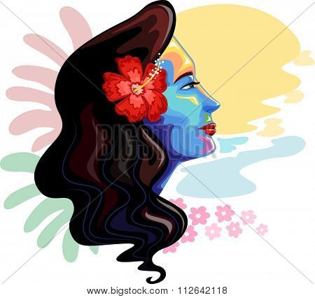 Colorful Illustration of a Girl Inspired by Hawaiian Symbols
