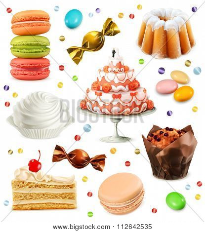 Sweets, set of vector icons